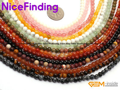 """Natural Round Gemstone Loose Beads Lots For Jewellery Making 15"""" Free Shipping"""