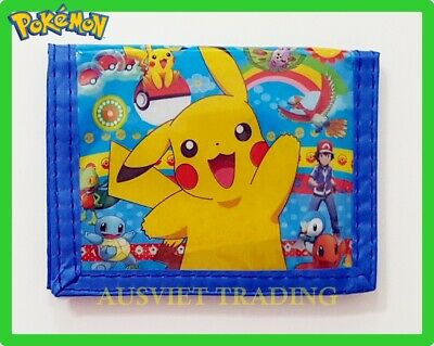 new Pokemon Pikachu Games boys girls kids children Wallet tri-fold coin purse