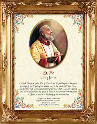 Saint Padre Pio Gold Framed Picture With Prayer - Statues Crucifixes Also Listed