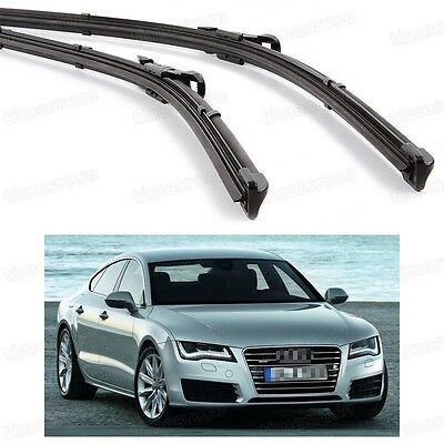 2Pcs Car Front Windshield Wiper Blade Bracketless Fit for Audi A7 2011-2014