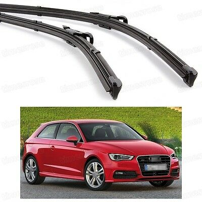 2Pcs Car Front Windshield Wiper Blade Bracketless Fit for Audi A3 2013-2014