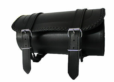 New Motorcycle Hand Made braiding edg Tek Leather Tool Bag Quick release buckle