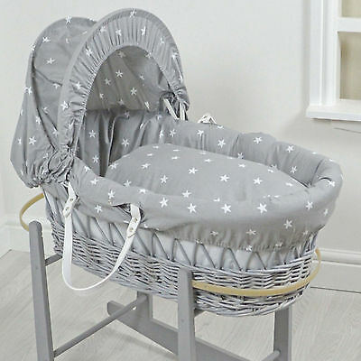 New 4Baby Grey White Stars Grey Wicker Deluxe Padded Baby Moses Basket