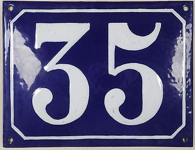 Large old blue French house number 35 door gate plate plaque enamel steel sign