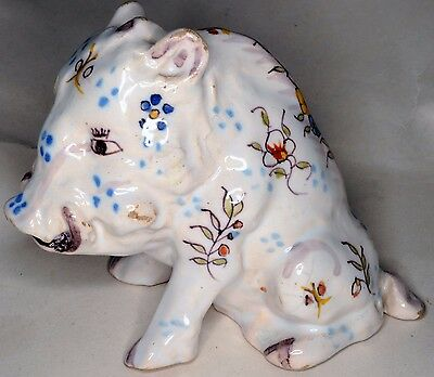 Antique Desvres French faience pottery earthenware wild boar pig sanglier c1900