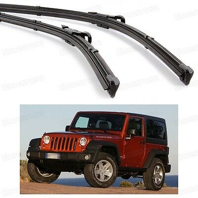 2Pcs Car Front Windshield Wiper Blade Bracketless for Jeep Wrangler 2007-2016