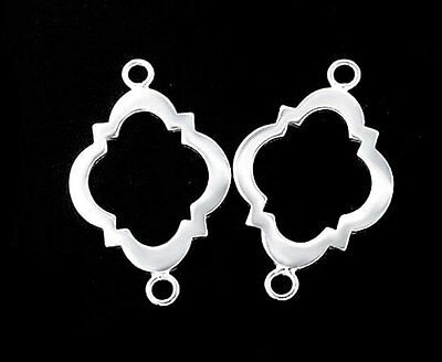 925 Sterling Silver 2 Moroccan Style Drop Links, Connectors 16x20 mm.