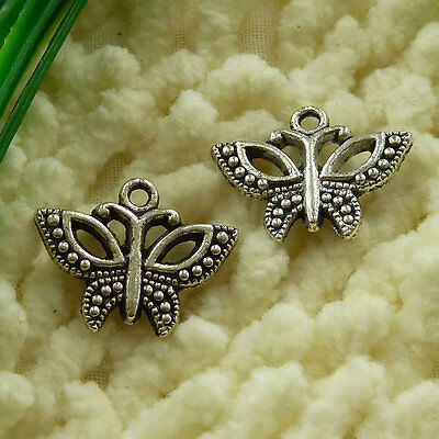 free ship 65 pieces tibetan silver butterfly charms 19x15mm #2942