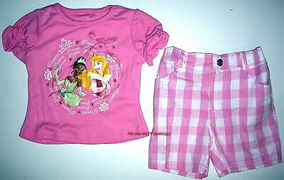 BNWT Princess top t-shirt tshirt and canvas shorts girls kids outfit set New