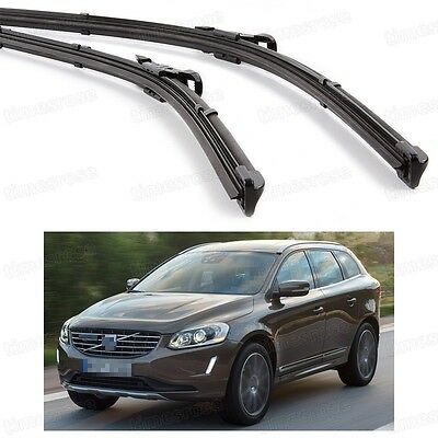 2Pcs Car Front Windshield Wiper Blade Bracketless Fit for Volvo XC60 2014-2016
