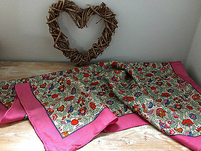 RARE 60s LIBERTY of London Beautiful Silk Square Scarf Pinks Floral Hand Rolled