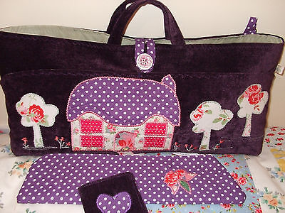 Knitting Bag Cottage Scene Handmade+Accessories New