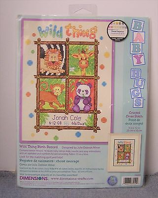 """Dimensions Baby Counted Cross Stitch Kit 9"""" x 12"""" Wild Thing Birth Record"""