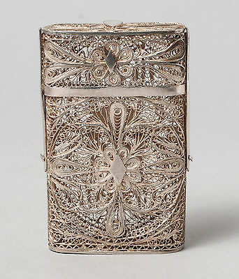 Antique Indo-Portuguese Goan Silver Filigree Wire Flip Top Cigarette/Card Case