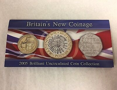 Britain's New Coinage, 2005 Brilliant Uncirculated 3 Coin Set
