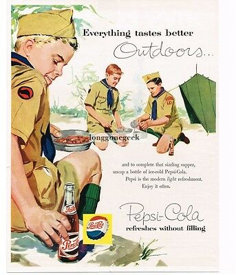 1957 Pepsi-Cola BOY SCOUTS Camping Out Cooking VTG PRINT AD