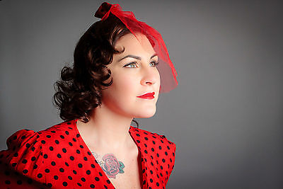 vintage inspired red & black polkadot  tulle veil fascinator rockabilly pin-up
