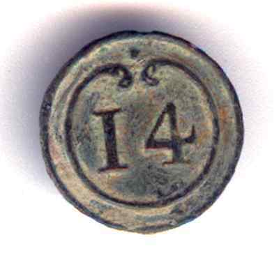 Cincin19,Button 14 th line Infantry French army,Napoleonic Peninsular War,16mm