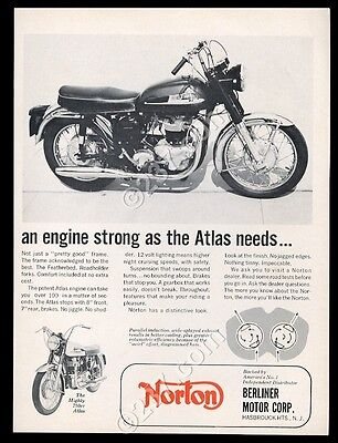 1965 Norton Atlas 750cc motorcycle photo vintage print ad