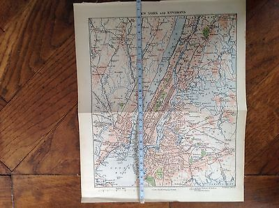 New York And Environs, Map, Old Illustration,print