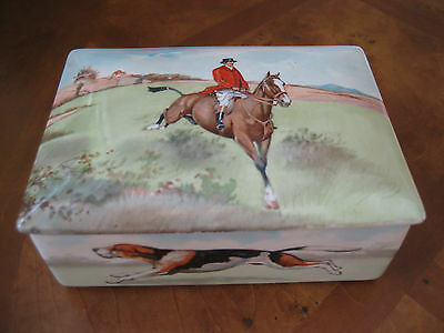 Vintage Royal Doulton Fox Hunting Cigarette Box From Bridge Set Made In England