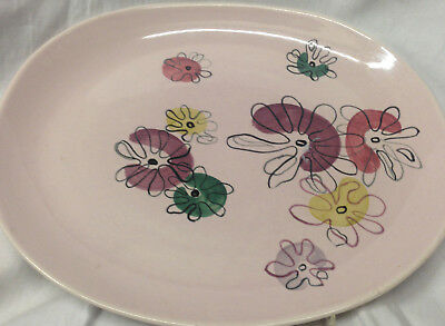 "Red Wing Pottery Fantasy Oval Serving Platter 13 3/8"" Pink Background Floral"