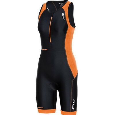 New 2XU Women Perform Trisuit Triathlon Tri Suit Black Orange SELECT SIZE