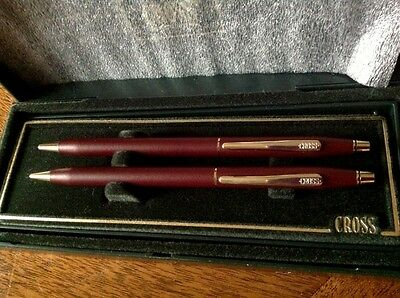 Cross Century Burgundy & Gold Ball Point Pen And Pencil Set