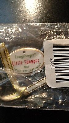 Longaberger 2008 Tree Trimming Little Shopper tie-on mint condtion FREE SHIPPING