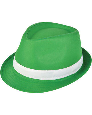 Adults Saint Patrick's Day Gangster Green Fedora Hat Costume Accessory