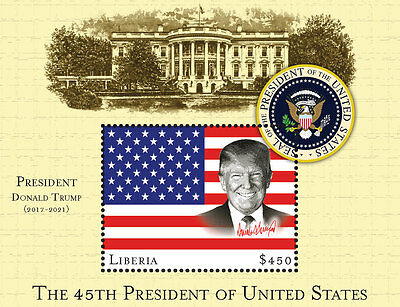 Liberia 2016 Donald Trump 45th President Flag Seal White House 12A-058