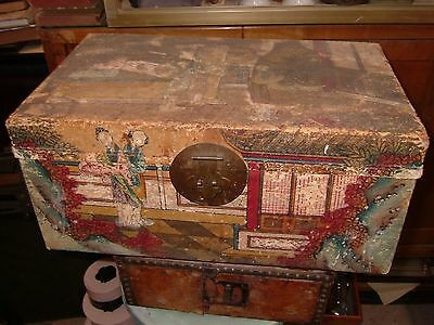 Chinese Antique 1900  Handpainted Pigskin Wedding Trunk Chest Courtesans styling