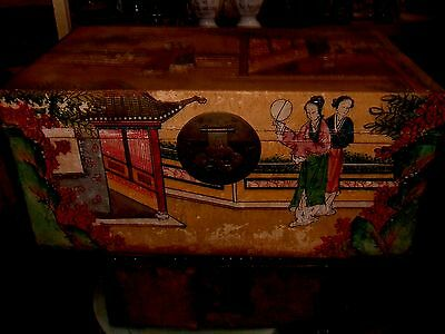 Pigskin Chinese Handpainted Antique Wedding Trunk Chest Courtesans Circa 1890