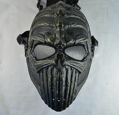 Green bronze Airsoft Paintball Full Protection Spine Skull Mask Halloween JD47