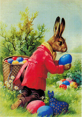 Modern Russian EASTER card BUNNY HIDES COLORED EGGS