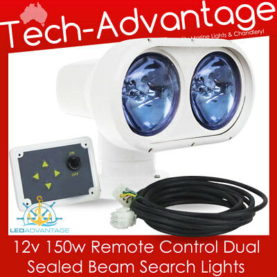 12V Boat Dual/twin Beam 150W Remote Controlled Marine Yacht Search Light