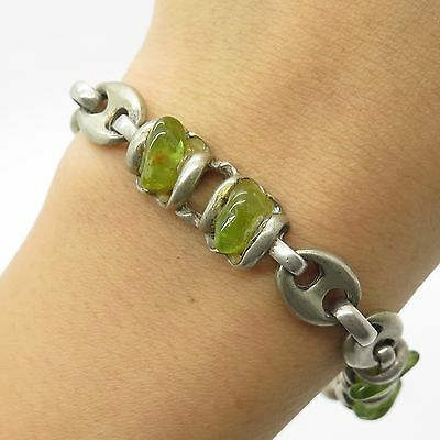 Vtg 925 Sterling Silver Real Green Gemstone Modernist Handmade Bracelet 6.5""