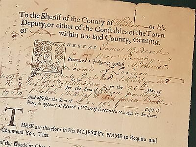 1728 antique COLONIAL coventry lebanon ct JAMES BADCOCK legal document LOOMIS
