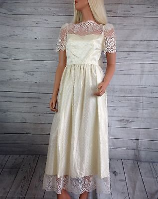 VTG 1950s Wedding Ivory lace lace Bridal long dress SZ 7/8 READ womens formal D2