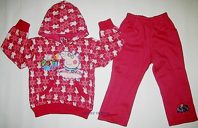 new Peppa Pig Track Suit girls Hoodie Jumper jacket and pants warm tracksuit