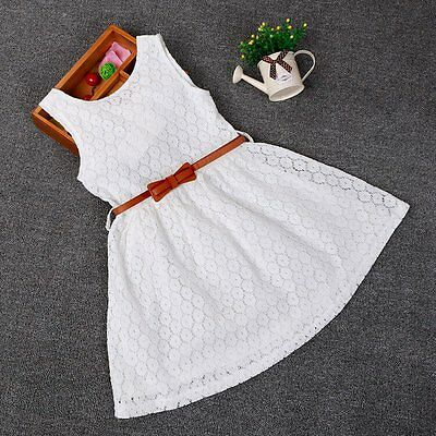 Toddler Kids Baby Girls Summer Lace Crochet Dress Princess Party Pageant Dresses