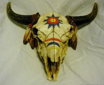 Painted Replica Bison or Buffalo Skull Trinket box, Decorated in Indian Painting