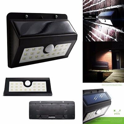 Bright PIR 20 LED Solar Outdoor Waterproof Motion Sensor Gutter Garden Light
