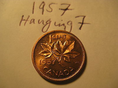 Canada 1957 Hanging 7 Rare Variety Penny In Mint BU Grade.