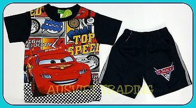 BNWT Disney Pixar's Cars McQueen tshirt top t-shirt shorts Pyjamas 100% cotton