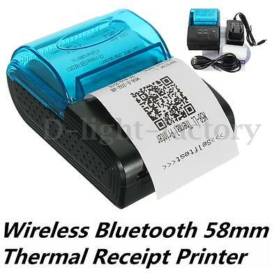 58mm Portable Bluetooth 4.0 Wireless Receipt Thermal Printer For Android PC IOS