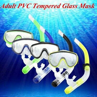 Adult PVC Swimming Scuba Dive Diving Goggles Mask and Snorkel Set 4 Colors DY