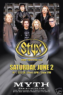 STYX 2007 MINNEAPOLIS CONCERT TOUR POSTER - Classic Rock Music, Tommy Shaw