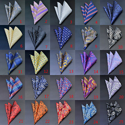 Mens Pocket Square Hankerchief Satin Solid Floral Paisley Floral Hanky Party New