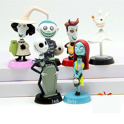 6pcs The Nightmare Before Christmas Jack Sally Lock Bobble head Figure doll toys